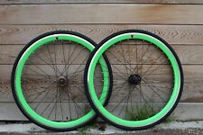 Goku Single Speed wheels Fixed Bike Wheel Set 700c Flip Flop Bright Green