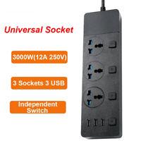 Home Power Strip Extension Socket Plug 16A 3 USB 3 Universal Socket Adapter 2M