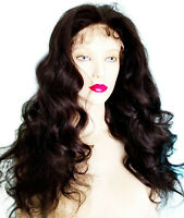 Human Hair Glueless Silk Top Indian Remi Remy Full Lace Wig Off Black Wavy Long