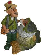 Grosse Spardose Sparschwein  Angler mit Fisch angeln zum Geburtstag Geldgeschenk