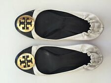 Tory Burch Womens Reva black/white ballet flats, gold logo  retail $225 Size 8.5