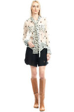 RRP €915 BURBERRY Silk Top Blouse Size UK 8 S Animal Print Bow Tie Made in Italy