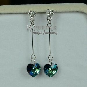 Ocean Love Solid 925 Silver Dangle Stud Earrings Made With Swarovski Crystals