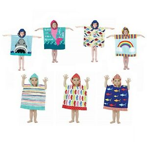 Boys Girls Kids Hooded Poncho Towel Children Beach Bathrobe Bath Pool Swimming