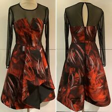 BNWT - Coast Red & Black Partly Mesh Dress - Sz 8 - *STUNNING*