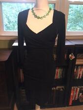 White House Black Market LBD Black Tiered Stretchy Dress Size 2
