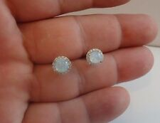 925 STERLING SILVER LADIES STUD EARRINGS W/ 2.50 CT OPAL /DIAMONDS/ 8MM DIAMETER