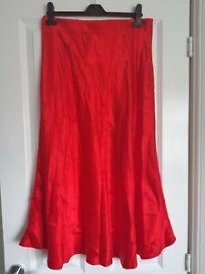 H&M BNWT 14 42 Red Satin Asymmetric Hem Midi Slip Skirt Elastic Waist Spring...