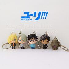 5pcs YURI!!! on ICE PVC Yuri Plisetsky Victor Katsuki Figure Key Ring Chain