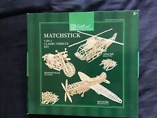 Traditional Wooden Matchstick Model 3 In 1 Kit Classic Vehicles Spitfire Apache