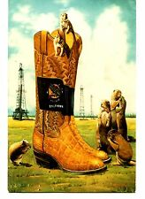 Exaggeration Cowboy Boots-Oil Wells-Prairie Dogs-Oklahoma-T Reed-Modern Postcard
