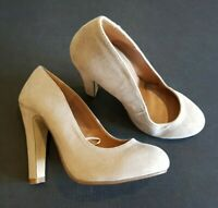 Atmosphere size 3 (36) light brown faux suede court shoes heels