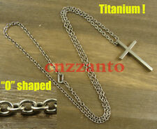 Totally Titanium O shaped chain + Cross Pendant necklace anti-allergy H228