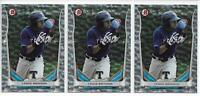 2014 Bowman Draft Lewis Brinson (3) Card Silver Ice Insert Parallel Lot Marlins