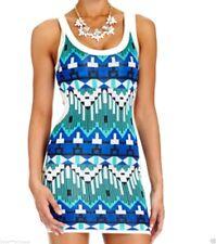 NWT bebe blue white print backcutout open sweater stretchy top dress XL X L 12
