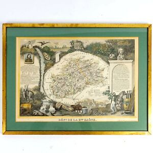 c. 1845 Map Hand Colored Engraving France Department de la Haute-Saone