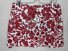 Topshop Size 16 White Red Floral Cotton Mini Skirt