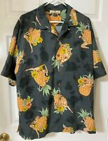 Tommy Bahama Men's Polo Shirt Short Sleeve Gray with Pineapple size L. 100% Silk