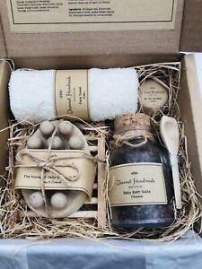 Handmade Natural Massager Soap Bar, Bath Salts & Lip Balm Gift Set