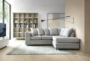 Darcy Corner Sofa in Light Grey Linen Fabric, 2 or 3 Seater or a Footstool