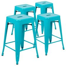 """24"""" High Metal Counter-Height, Indoor Bar Stool in Teal-4 Pack"""