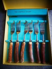 Vintage Stag Horn Cutlery - Set Eating Forks & Knives - From Sheffield - GENUINE