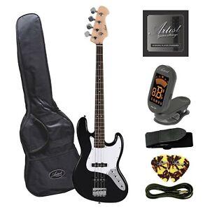 Customer Returned Artist JB2 Black Electric Bass Guitar Plus Accessories