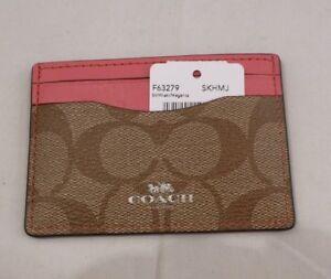 NWT COACH Slim Card Case/Holder KHAKI and MAGENTA SIGNATURE COATED CANVAS 63279