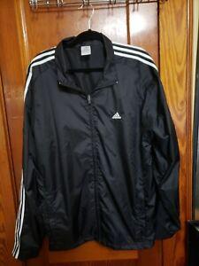 Adidas Mens Sweatsuit Large Jacket-Pants-Black White-Pinstripe-Windbreaker