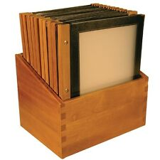 Wooden Spine Menu Holders Black A4 Catering Restaurant 20 Menus In Holder