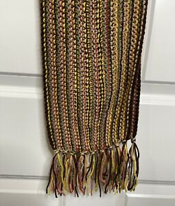 Handmade Hand Knitted Stripes Scarf Multicolour 70's Vibes Style Colours