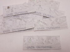 Set of 10 - Embroidered Beaded White Christmas Card Making Arts Motifs #25A107