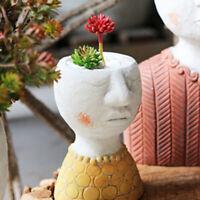 Male Head Design Succulents Plant Pot Indoor Outdoor Resin Planter Decor Pot