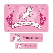 100 Schuletiketten mit Wunschname Motiv: Pink Pony Ideal zur Einschulung