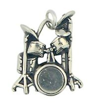Musical Rock Band Instrument 7/8 Inch Sterling Silver Drum Set Charm Pendant