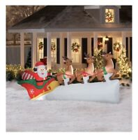 11 Foot Wide Santa's Sleigh w Flying Reindeer Airblown Inflatable SHIPS TODAY