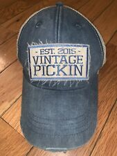 EST. 2015 'VINTAGE PICKIN' Mesh Distressed Snapback Baseball Hat Cap Blue