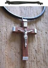 Men's Necklace cross Jesus Wood Pendant Leather Brown