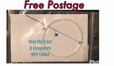 Wet Fly fishing leader/ cast 2 droppers 9ft 10lb free postage