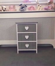 Grey Girls Chest Drawers Kids Childrens Bedroom Furniture Princess Bedside Table