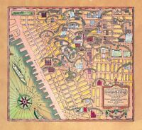 Greenwich Village historical artistic literary 1934 pictorial map POSTER 11206