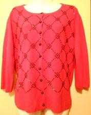 Covington Ladies Hand Beaded Cardigan Sweater Red Large (L) NWT