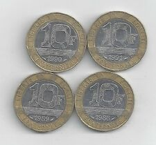 4 BI-METAL 10 FRANC COINS from FRANCE (1988, 1989, 1990 & 1991)