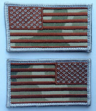 US Army MultiCam Flag EMROIDERED Reversed HOOK 2 pc PATCH