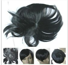 jet black clip in on fringe bangs bald grey patch hair piece extension toupee