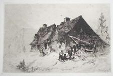 19th Century Etching, Poverty of Post War South, Negro Huts at Wilmington, N.C.