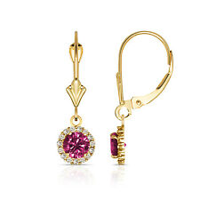 1.25CTW Round Halo Ruby Drop Dangle Leverback Earrings 14K Yellow Gold