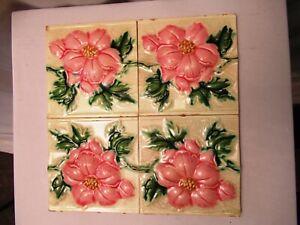 "Antique Art Nouveau Majolica Tile 19Th Embossed Rose Flower Design 4 Pc Set ""510"