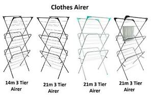 4 Choices of 3 Tier Laundry Clothes Horse Drying Airer Rack Indoor or Outdoor