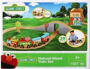 Sesame Street Natural Wood Train Set for Toddlers, 29-Piece - Kids Tracks Set